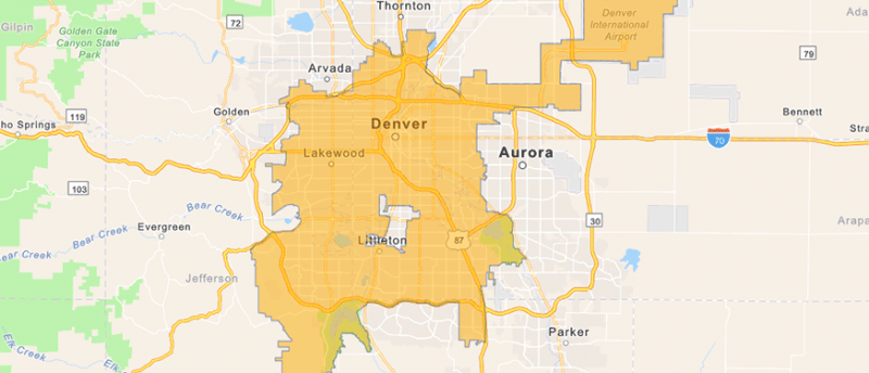 Graphical representation of Denver Water's service area