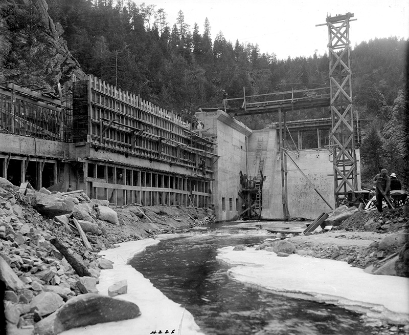 South Boulder Creek Diversion Dam under construction in the 1930s.