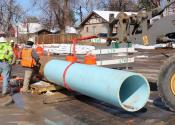 Denver Water crew replacing pipe