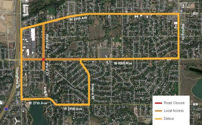 Detour map: 32nd Avenue between Ward Road and Vivian Street
