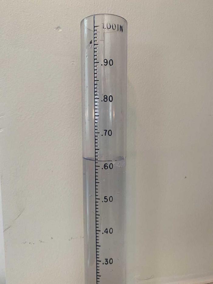 A rain guage shows just over six-tenths of an inch of water.