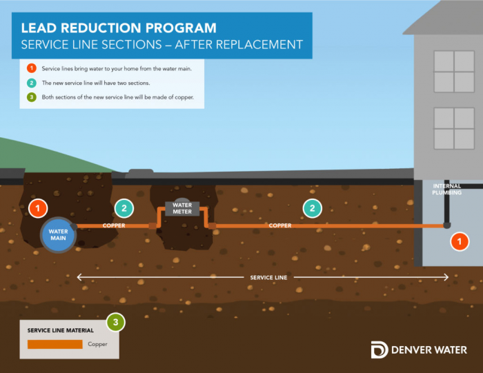 Graphic that shows what happens after lead service replacement: 1) Service lines bring water to home from water main. 2) The new service line will have two sections. 3) Both sections are made of copper.