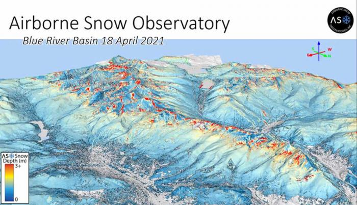 An image showing a snow-capped mountain range, with dark red color at the highest peaks signifying the deepest snow.