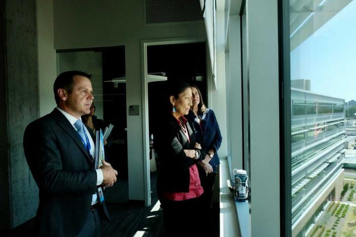 Denver Water Chief Administrative Officer Brian Good with U.S. Secretary of the Interior Deb Haaland and U.S. Rep. Diana DeGette during a tour of the Administration Building. Photo credit: U.S. Department of the Interior.