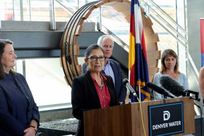 Deb Haaland, Secretary of the Interior, speaks at a press conference.