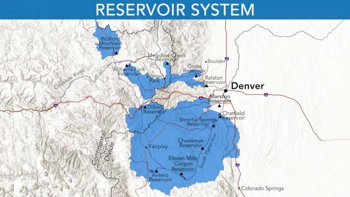A map showing where Denver Water collects water from, and the reservoirs the utility stores the water in.