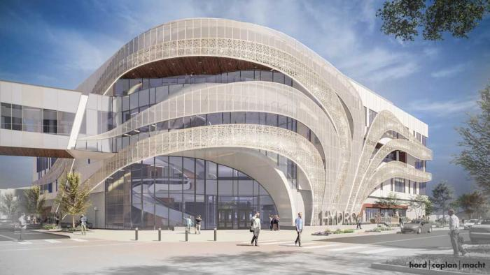 A computer-generated image of a white building with wavy lines across the front flowing like water.