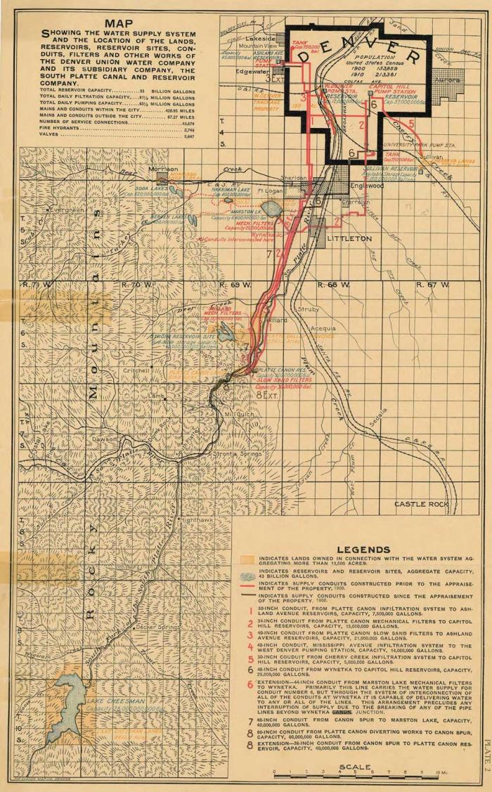A brown map showing the path from Cheesman Reservoir to Denver in 1913, marked with lines indicating pipes to carry water.