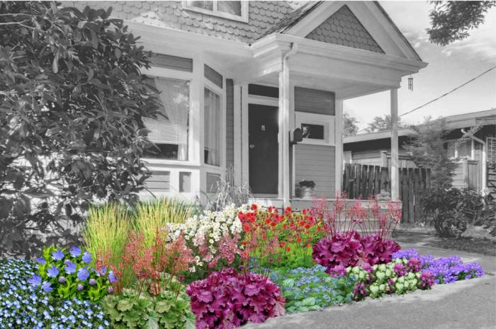 A rendering of full-grown flowers in many colors as the front landscape of a home.