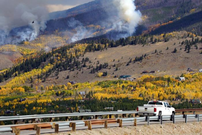 Ptarmigan Fire burns along the hillside near Dillon Reservoir