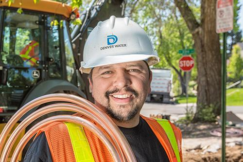 Denver Water employee during construction