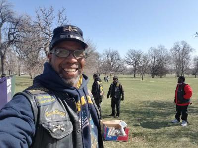Sam Pegues at Denver City Park during Easter egg hunt
