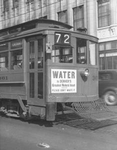 Picture taken on May 9, 1936 of Denver Water conservation message.