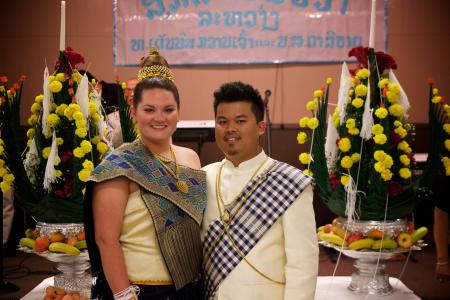 Dennis Kouanchao and his wife at their Lao wedding