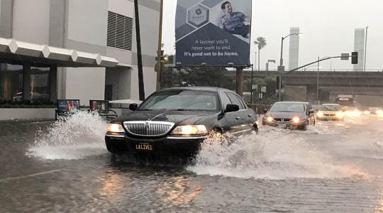 Flooded street in Los Angeles