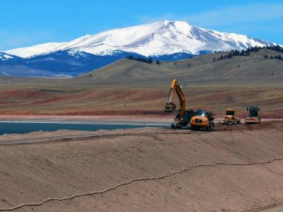 A Denver Water crew works on the Antero Dam Rehabilitation Project in 2016.