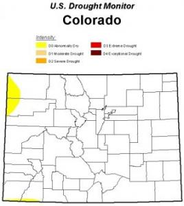 Map shows lack of drought in Colorado.