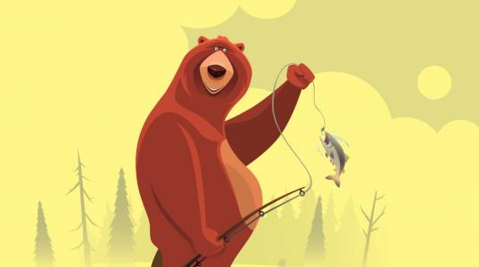 A cartoon illustration of a bear smiling and a fishing rod in his hand with a fish on the end of the line.