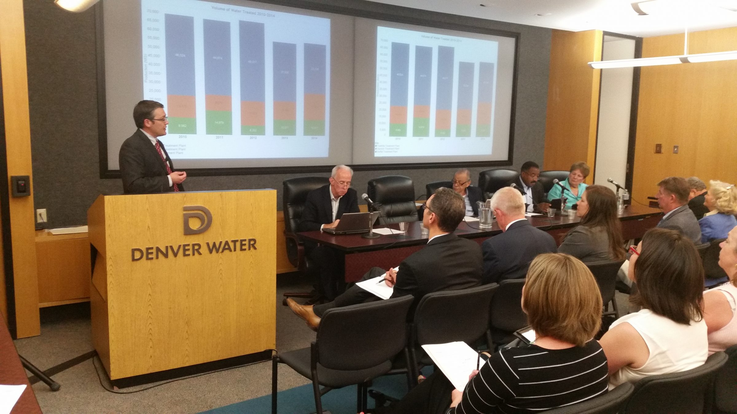 Denver Board of Water Commissioner members listen to information at the July, 2015 fluoride information session.