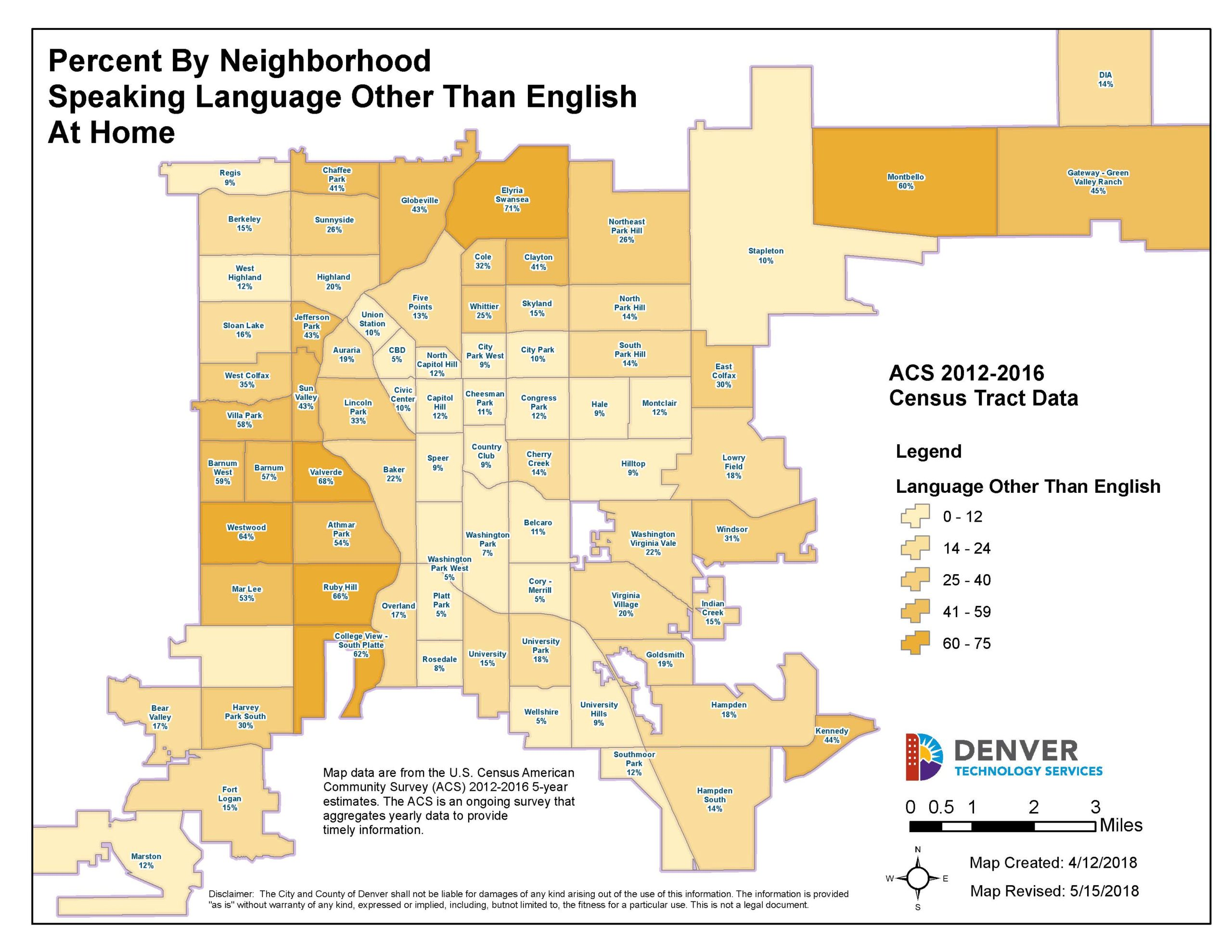 City and County of Denver breaks down language maps. This map shows homes that speak other than English. Image credit: City and County of Denver.