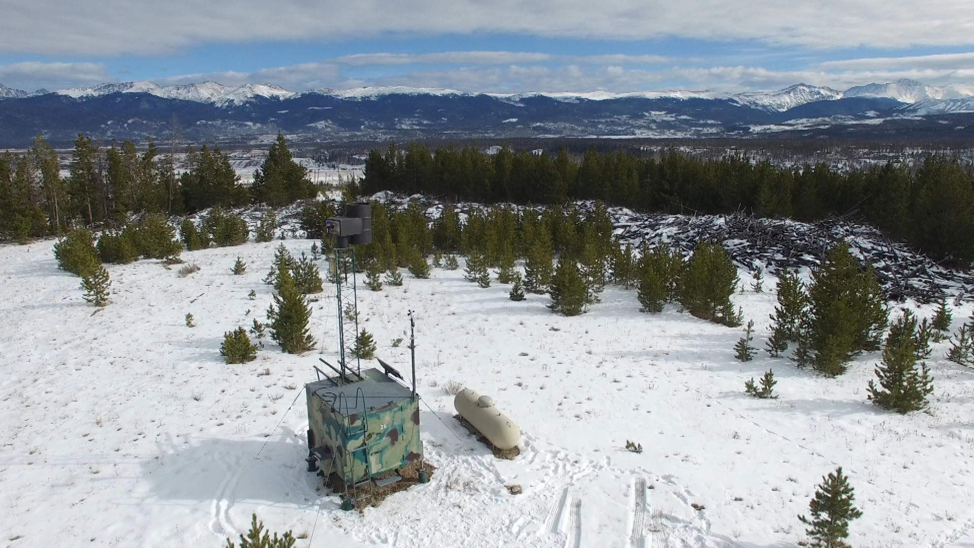 An remote-operated cloud seeding generator in Grand County, Colorado, is operated by Desert Research Institute and seeds clouds north of Winter Park Ski Resort.