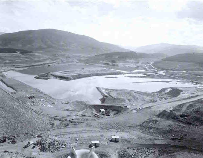 This picture shows Dillon Reservoir before it filled with water in 1963.