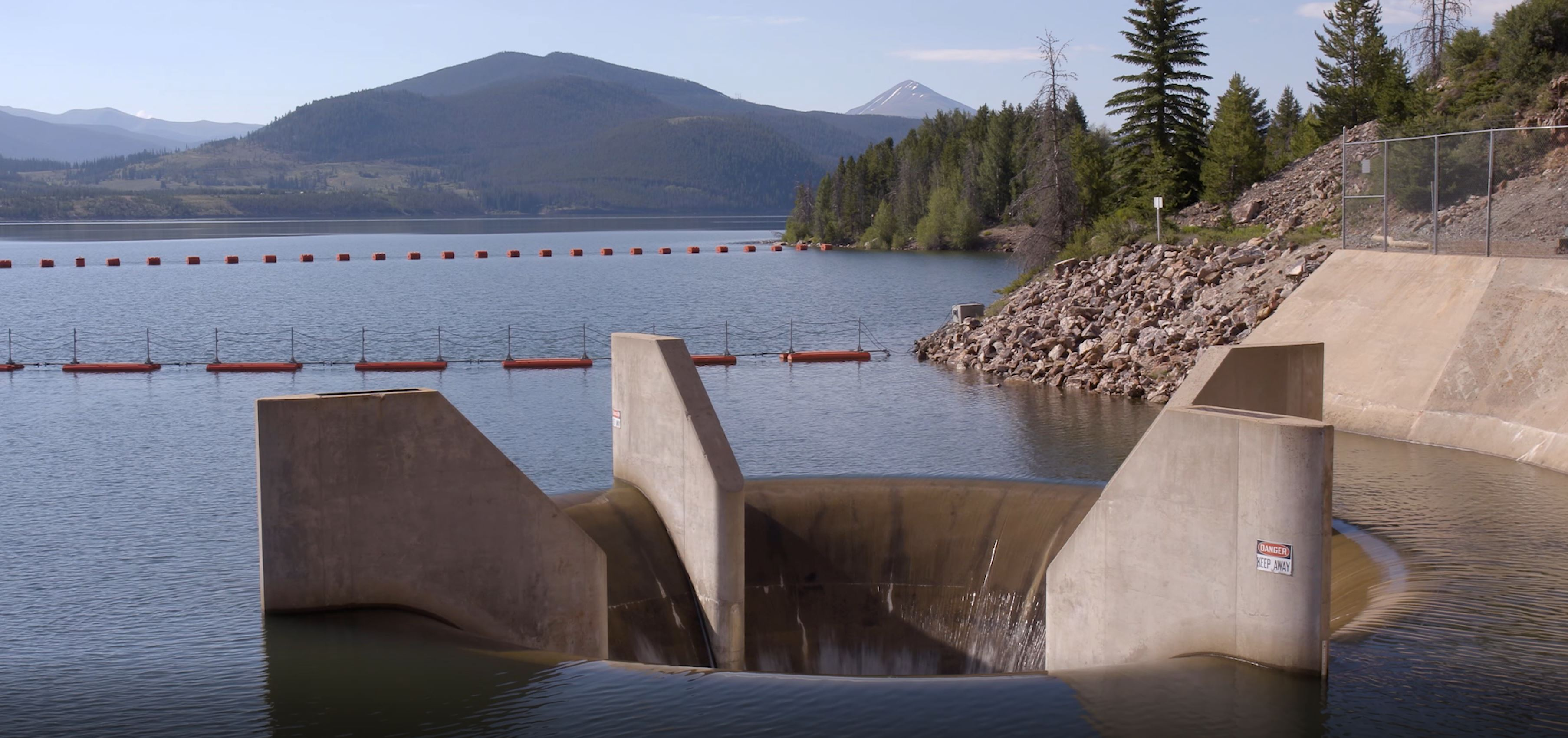 This picture shows the concrete tunnel where water flows through when Dillon Reservoir is full.