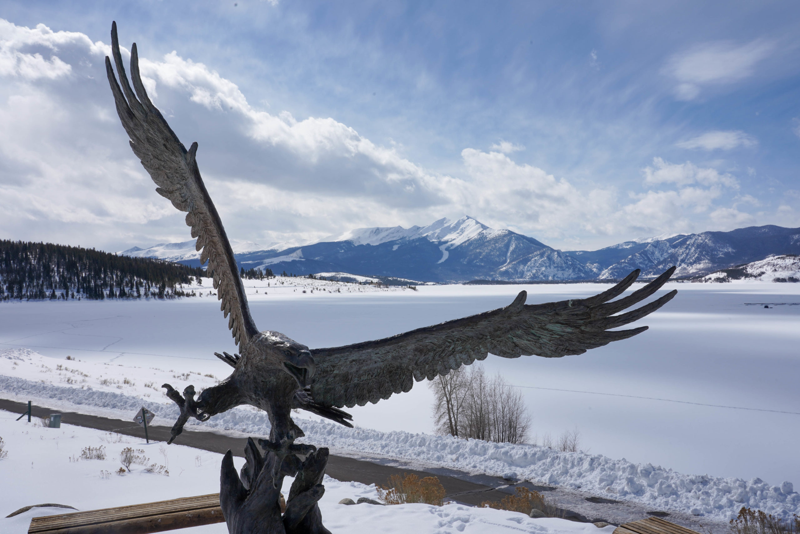 An eagle statue in front of Dillon Reservoir in Summit County, where Denver Water collects and stores mountain snowpack. Photo credit: Denver Water.
