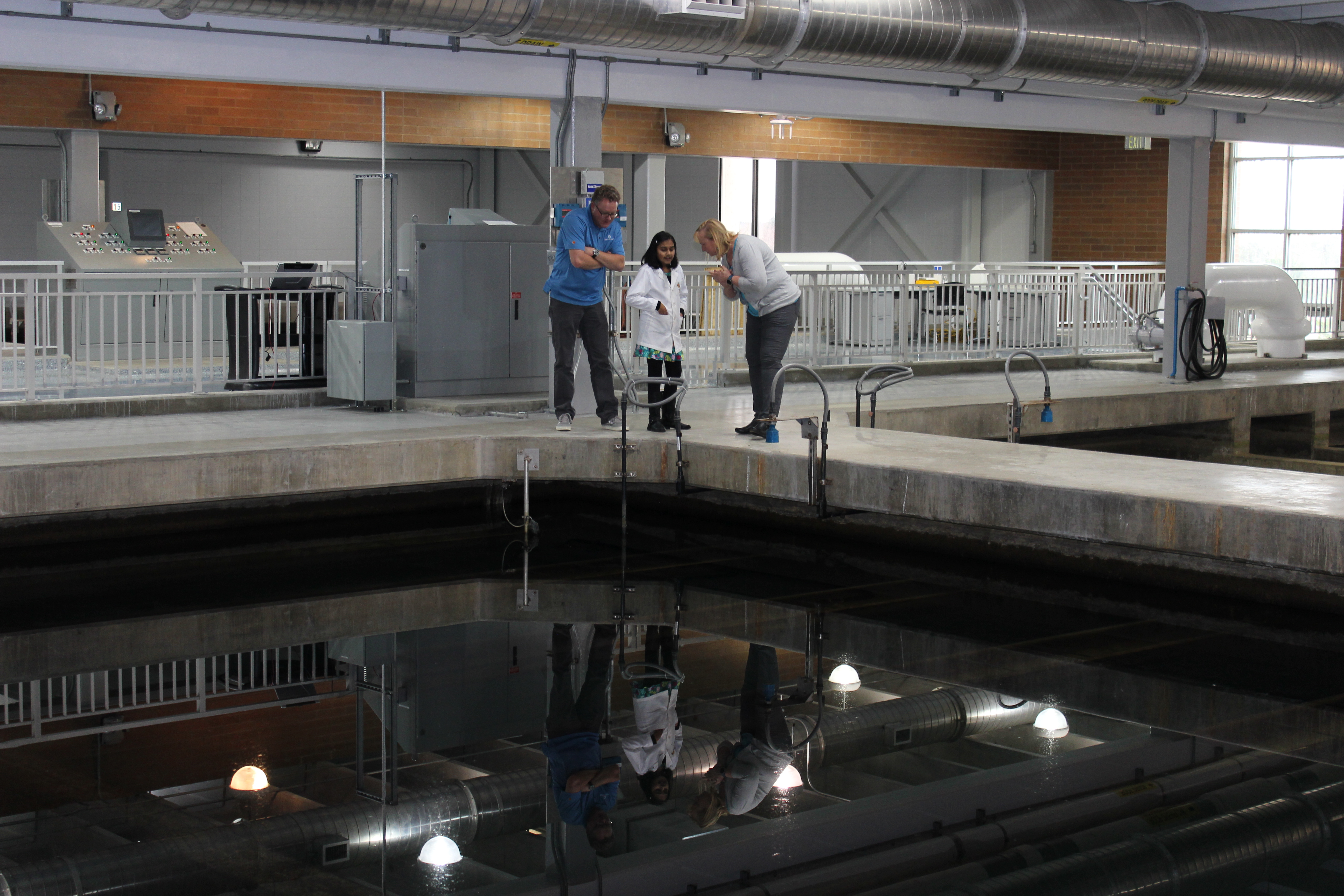 Denver Water's Marston Treatment Plant supervisor Patty Brubaker (right), explains the water treatment process to Rao during her visit.