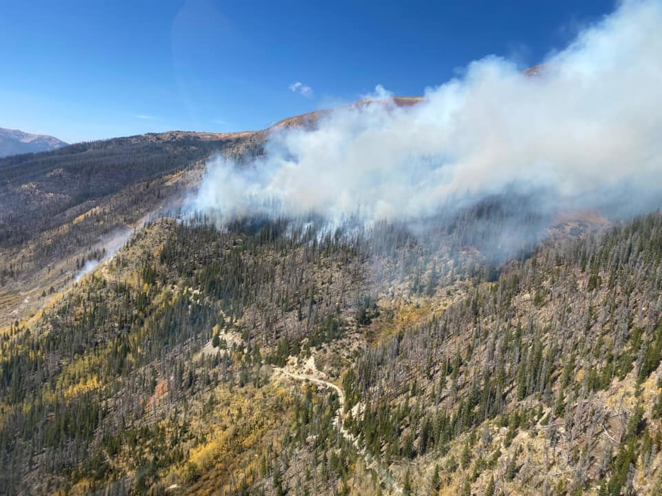The Williams Fork Fire burned into the McQueary Creek drainage in late September 2020. Denver Water collects drinking water from this area. Photo credit: InciWeb.