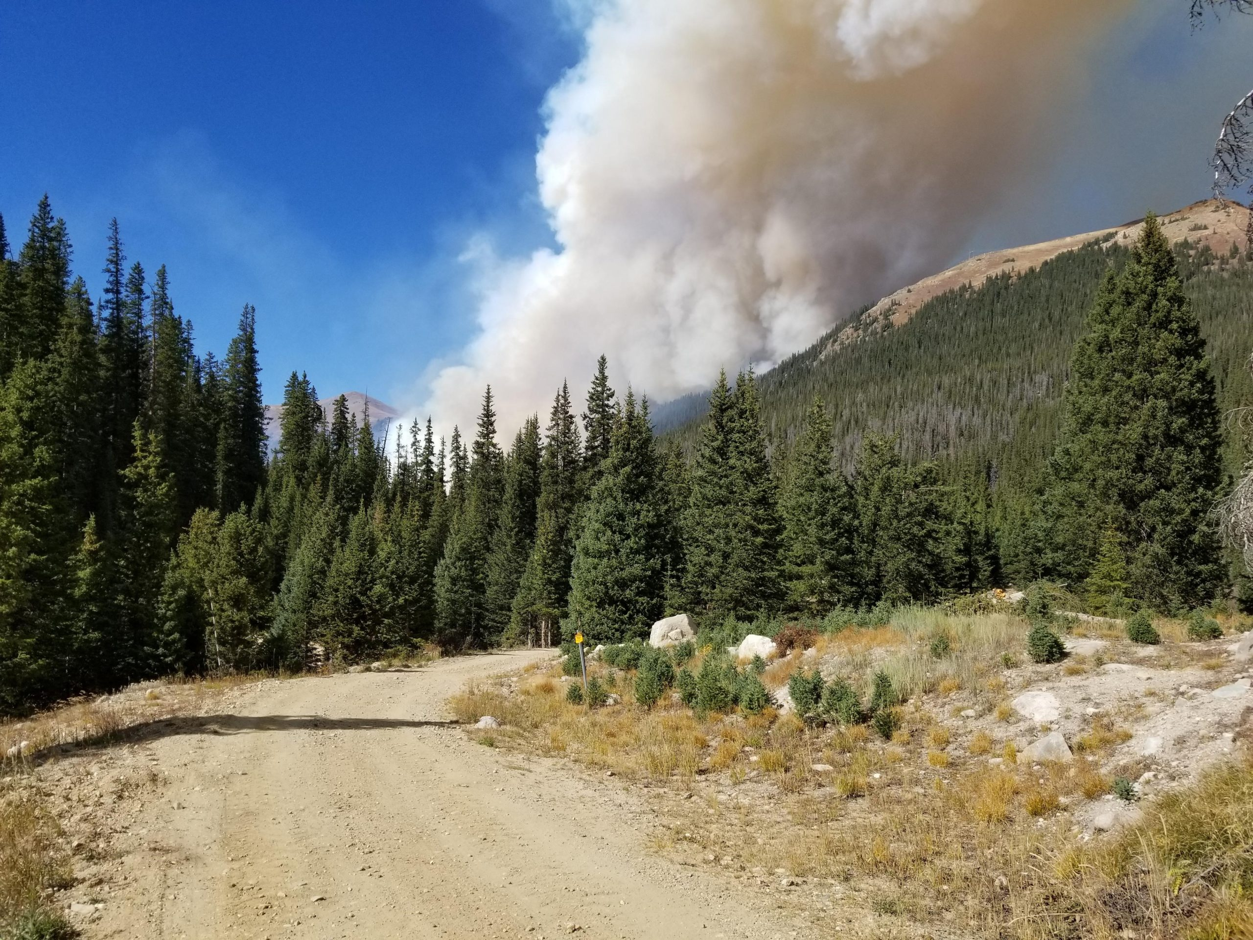The Williams Fork Fire on Sept. 30, 2020, taken from Denver Water's Jones Pass facility. Photo credit: Denver Water.