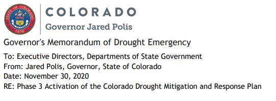A screenshot from Gov. Jared Polis' announcement on Nov. 30, 2020, regarding drought.